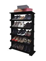 Sapateira de Piso Chão para Closets e Quartos 15 Pares Sapatos - Preto Laca - Formalivre