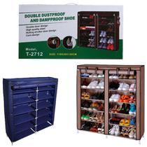 Sapateira dupla 6 prateleiras estante organizador 2 em 1 guarda roupa grande armario portatil desmontavel - MAKEDA