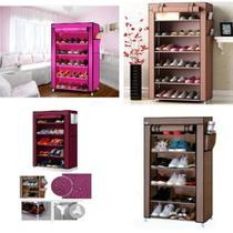 Sapateira gigante 6 prateleiras armario organizador guarda roupa estante portatil desmontavel tenis calçados com ziper - MAKEDA