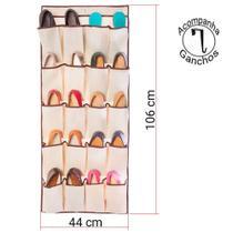 Sapateira Vertical 10 Pares de Porta Secalux 281031 Em TNT Flexível 20 Divisórias -