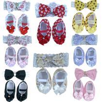 Sapatinho + faixa bebê menina kit com 8 - Duda Baby Shop
