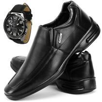 Sapato Conforto Social SapatoFran com Relógio Masculino -