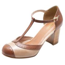 Sapato de Salto Alto Grosso de couro  estilo Boneca - Miuzzi