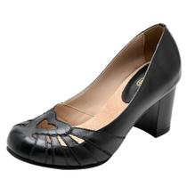 Sapato Miuzzi Couro Salto Medio Feminino Bico Redondo Retrô -