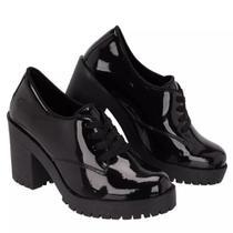 Sapato Oxford Feminino Sw Shoes Salto Alto Luxo Preto Verniz Lançamento Imperdível -