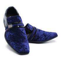 Sapato Social Camurça Verniz Schiareli 108 Azul -