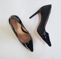 sapato sola vermelha scarpin preto verniz bico fino salto alto 9,5 cm novo - Andressa Blos