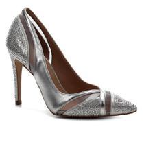 Scarpin Shoestock Bride Tela Cristais -