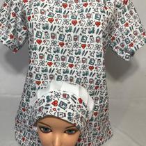 Scrubs, Pijama cirúrgico blusa avulsa, acompanha touca. - Querouniformes.Com
