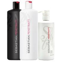 Sebastian Penetraitt Kit Shampoo 1L + Condicionador 1L + Máscara 500ml - Wella