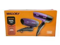 Secador cabelo Mallory Travel bivolt compacto leve e moderno -