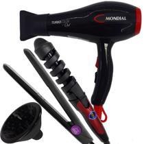 Secador de cabelo barato c/ difusor prancha e modelador 32mm - Mondial