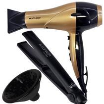 Secador de cabelo cacheado 2000w difusor e chapinha gama pro - Multilaser