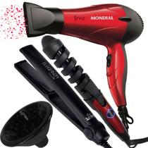 Secador de cabelo difusor  modelador 32mm e chapinha gama nf - Mondial