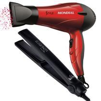 Secador de cabelo mondial rapido e leve + chapinha pro gama -