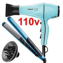 Secador De Cabelo Taiff Profissional 2000w T20 Ar Quente Frio Difusor Cachos e Prancha Titanium Azul -