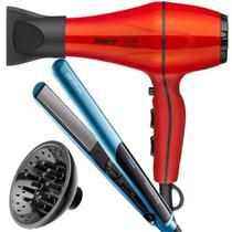 Secador De Cabelo Taiff Style 2000w Profissional Ar Quente Frio Red Difusor Prancha Titanium Azul -