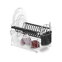 Secador de louças com porta-talheres Niquelart 47,5cm preto -