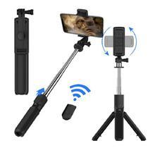 Selfie Stick Tripé Suporte para Celular Fotos Vídeos 2 em 1 Preto - DS