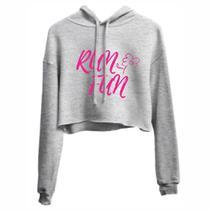 Sensacional Top Cropped Run Fun Blusa Feminina Caimento nos ombros Tecido Confortável e Macio - Efect