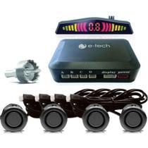 Sensor de Estacionamento Universal 4 Pontos Preto Brilhante com Display E-TECH -