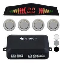 Sensor Estacionamento Ré 4 Pontos E-tech Traseiro Display Branco -