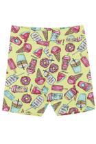 Serelepe Kids - Shorts Infantil Feminino Biker Candy Kawaii Amarelo - SP6146-AM -