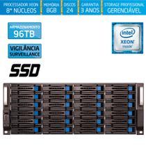 Servidor-Storage Silix X1200H24 V6 Intel Xeon V6 3.5 Ghz / 8GB / SSD / 96TB Vigilância / RAID -