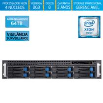Servidor-Storage Silix X1200H8 V6 Intel Xeon E3 V6 3.0Ghz / 8GB / 64TB Vigilância / RAID / Hot-Swap -