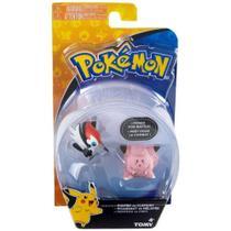 Set c/ 2 Bonecos - Pikipek vs Clefairy - Pokémon - Tomy -