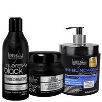Shampoo 300ml + Máscara 250g Matizadora Intensive Black + Blindagem 500g - Forever Liss