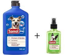 Shampoo Antipulga 500ml + Colonia Perfume Para Cães Machos - Sanol
