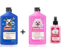 Shampoo Antipulga para cachorro + Condicionador revializante E Perfume Cachorro Fragrância Femea Sanol Dog -