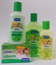 Shampoo, condicionador, colônia e sabonete em barra Camomila- kit chá de bebê Turma da Xuxinha - Baruel