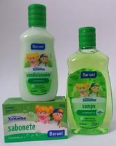 Shampoo, condicionador e sabonete em barra Camomila- Kit chá de bebê Turma da Xuxinha - Baruel