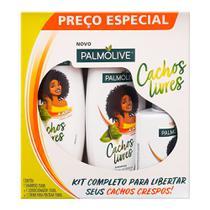 Shampoo + Condicionador Palmolive Cachos Livres Extrato de Babosa 350ml cada + Creme de Pentear Palmolive Cachos Livres Extrato de Babosa 150ml -