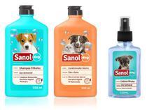 Shampoo para Cães Filhotes + Perfume Colônia filhotes Baby + Condicionador Neutro Sanol - Kit Banho Cães Filhotes -
