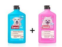 Shampoo para Cães Pelos Claros e Condicionador Revitalizante para cachorro Sanol -