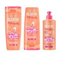 Shampoo Salvador e Condicionador Desata Nós 200ml + Creme Anti-Corte 250ml Elseve Longo dos Sonhos Loréal Paris Kit C/3 -