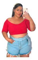 Short Feminino Jeans Plus Size Claro Barra Desfiada C Cinto - Multimarcas