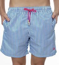 Short Masculino Estampado Listra Azul com Cadarço Rosa - Area Verde -
