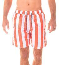 Short Masculino Estampado Listra Laranja e Cadarço Chumbo - Area Verde -