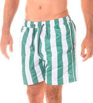 Short Masculino Estampado Listra Verde Bandeira e Cadarço Musgo - Area Verde -