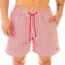 Short Masculino Estampado Listra Vermelha com Cadarço Vermelho - Area Verde -