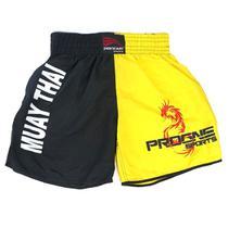 Short muay thai masculino - preto com amarelo - Jugui