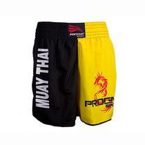 Short muay thai masculino - preto com amarelo - p - Progne
