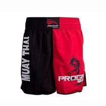 Short muay thai masculino - preto com vermelho - p - Progne