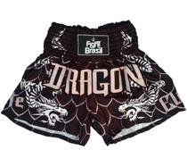Short Muay Thai Preto Fight Brasil Dragon Elite