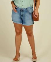 Short Plus Size Feminino Jeans Barra Desfiada - Cambos Premium
