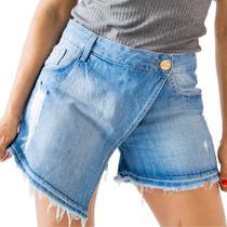 Short Saia Jeans Feminino Media Barra Desfiada Destroyed Anticorpus - Anticorpus Jeanswear